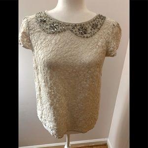 Loft lace, cream rhinestoned blouse, size XS
